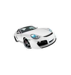 white sports prestige car front view vector image