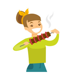 Young caucasian white woman eating shashlik vector