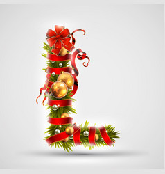 christmas font letter l of christmas tree vector image vector image