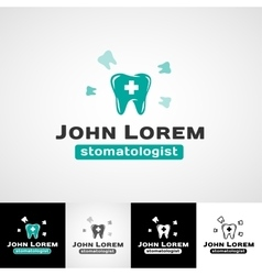 Dental logo template Teeth icon set dentist vector image vector image