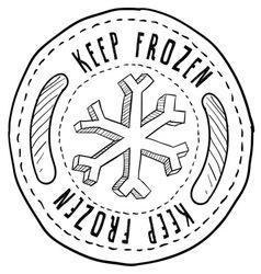 doodle label keep frozen vector image vector image