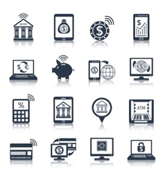 Mobile banking icons black vector image