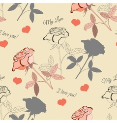 Seamless pattern with pink rose2-4 vector image vector image