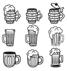 set of beer mugs design elements for logo label vector image