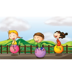 Cartoon Bouncing Kids vector image vector image