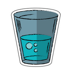 cartoon glass water fresh icon vector image