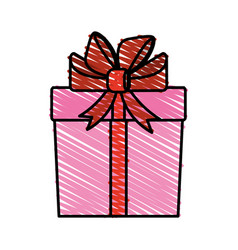 color crayon stripe cartoon giftbox with wrapping vector image