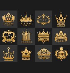 crown vintage premium golden logo badge heraldic vector image