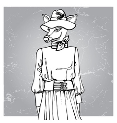 Hand drawn deer hipster girl in dressOutline vector image