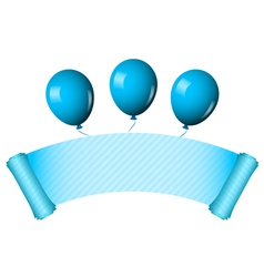 blue scroll with balloons vector image