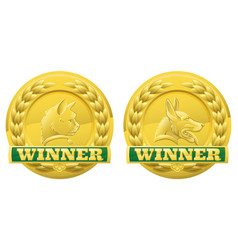 cat and dog pet winners medals vector image vector image