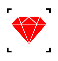 diamond sign red icon inside vector image vector image
