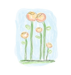 painted flowers in watercolor style vector image