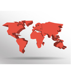 red 3d map of world with dropped shadow on vector image vector image