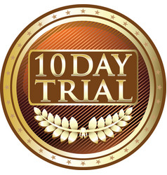 ten day trial gold icon vector image vector image