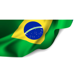 Waving flag of Brazil South America vector image