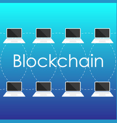 Blockchain concept from laptop screen vector