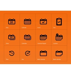 Calendar icons on orange background vector image