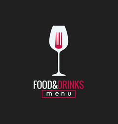 food and drink logo design wine glass and fork vector image