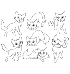 Seven funny cartoon cats vector image vector image