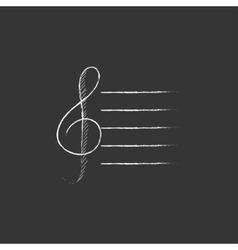 Treble clef Drawn in chalk icon vector image vector image