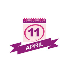11 april calendar with ribbon vector
