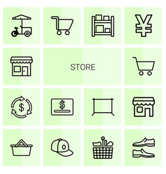 14 store icons vector