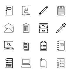 16 notebook icons vector image