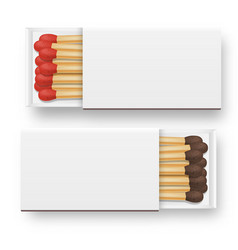 3d realistic opened blank box of matches vector