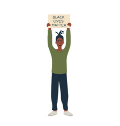African american protester hands holding placard vector
