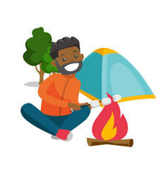 African man roasting marshmallow over campfire vector