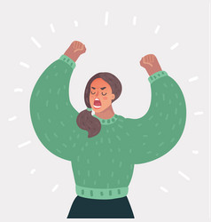 Angry woman up her hands vector