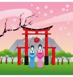 arch japan culture design vector image