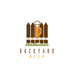 Backyard beer design template with fence and mug vector