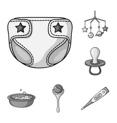 Birth a bamonochrome icons in set collection vector