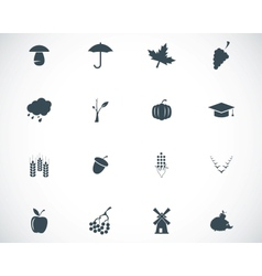 black autumn icons set vector image