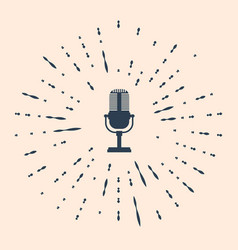 Black microphone icon isolated on beige background vector