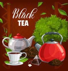 Black tea cup leaves teabag abd pot vector