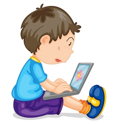 Boy using laptop vector