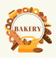 bread for bakery cartoon rye vector image