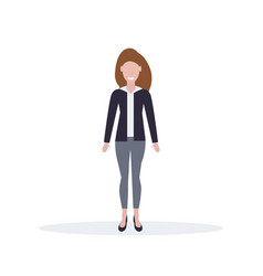 businesswoman standing pose happy brown hair woman vector image