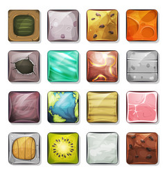 buttons and icons set for mobile app and game ui vector image