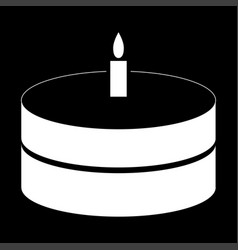 cake with candle the white color icon vector image