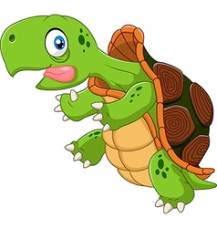 Cartoon funny turtle running vector image