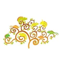 Chameleon tree vector image