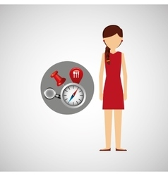 Character red dress navigation elements concept vector