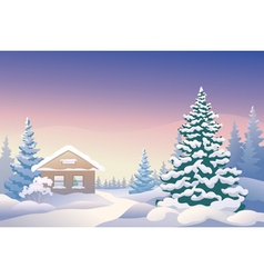 Christmas cabin vector