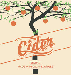 cider label with apple tree in retro style vector image