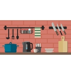 Cooking utensils on kitchen table vector
