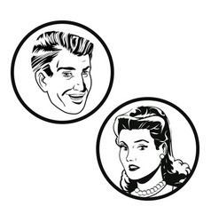 Couple faces pop art style vector